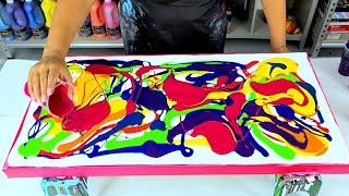 Color Explosion! - Acrylic Pour Painting - Creative Art Ideas