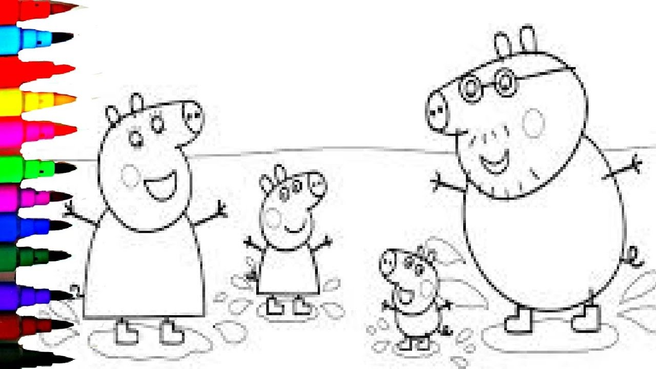 Peppa Pig Coloring Pages Episodes Muddy Puddles Kids