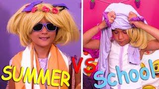 Summer vs School Morning Routines ✨Princesses In Real Life   Kiddyzuzaa
