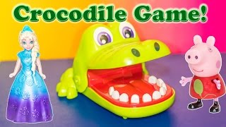 CROCODILE DENTIST With Disney Frozen Elsa and Funny Pige a Video Toys Unboxing