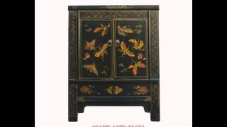 Black Rainbow Butterfly Painting Nightstand End Table Chinese Cabinet Wk2564