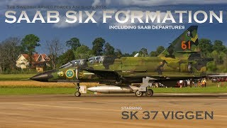 saab jetfighters six formation and departures the swedish armed forces air show 2018