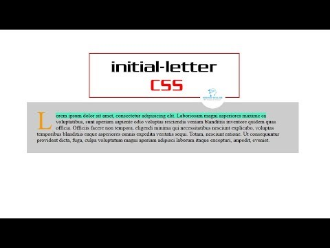 Initial-letter CSS property (::first-letter | ::first-line)