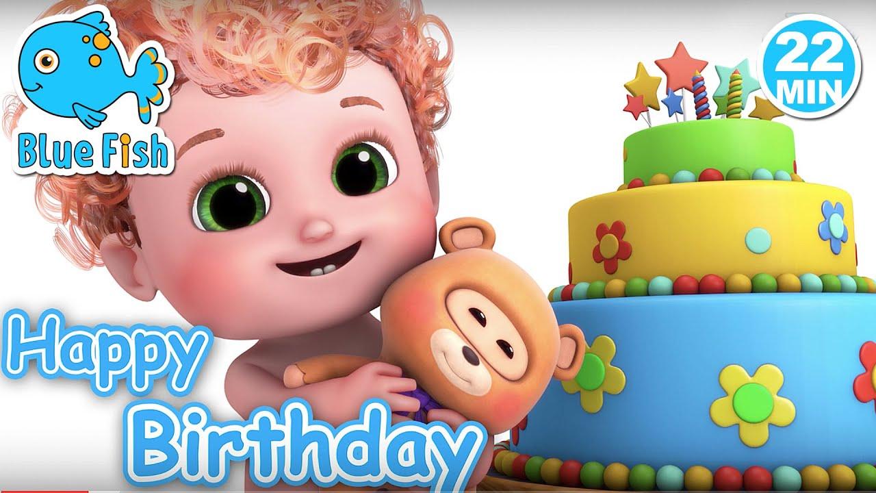 Happy Birthday Baby shark song  | 4K nursery rhymes & kids songs | Blue Fish