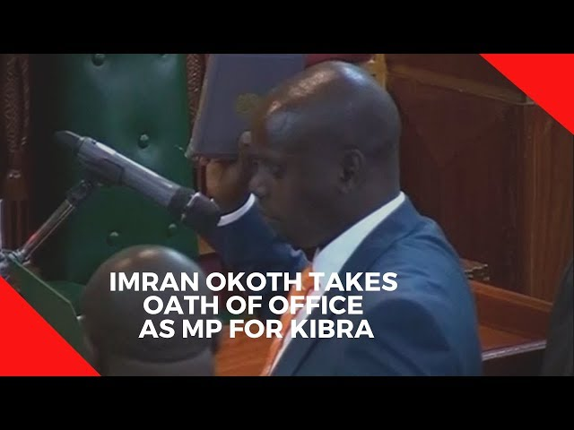 Imran Okoth takes oath of office as MP for Kibra