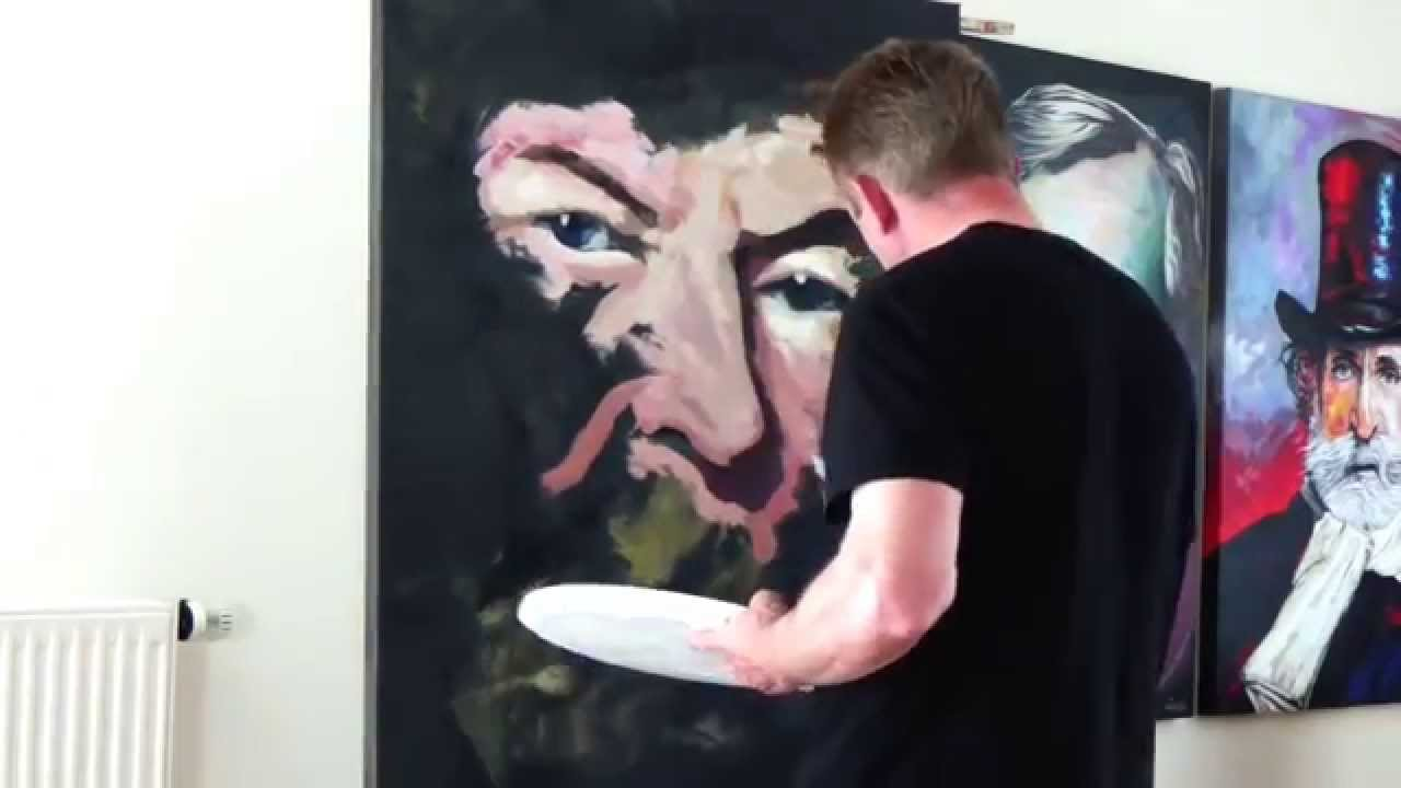 Portrait painting with palette knife on canvas - YouTube