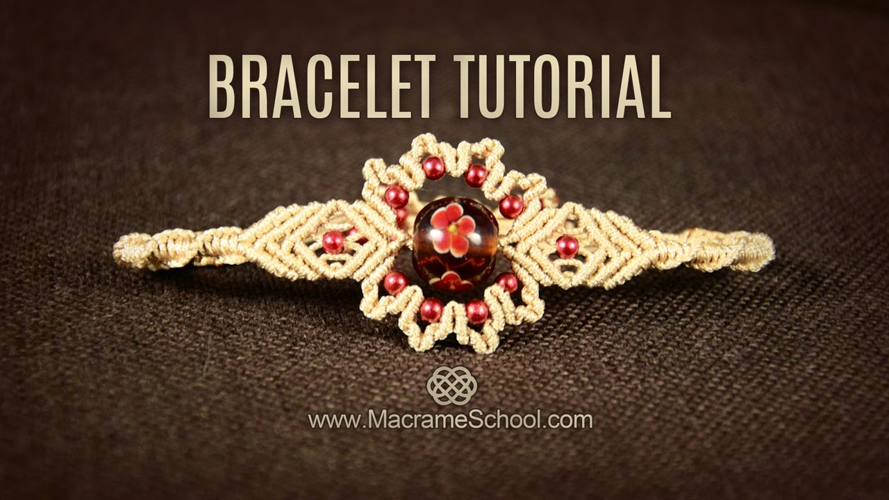 big bead flower bracelet tutorial by macrame school youtube. Black Bedroom Furniture Sets. Home Design Ideas