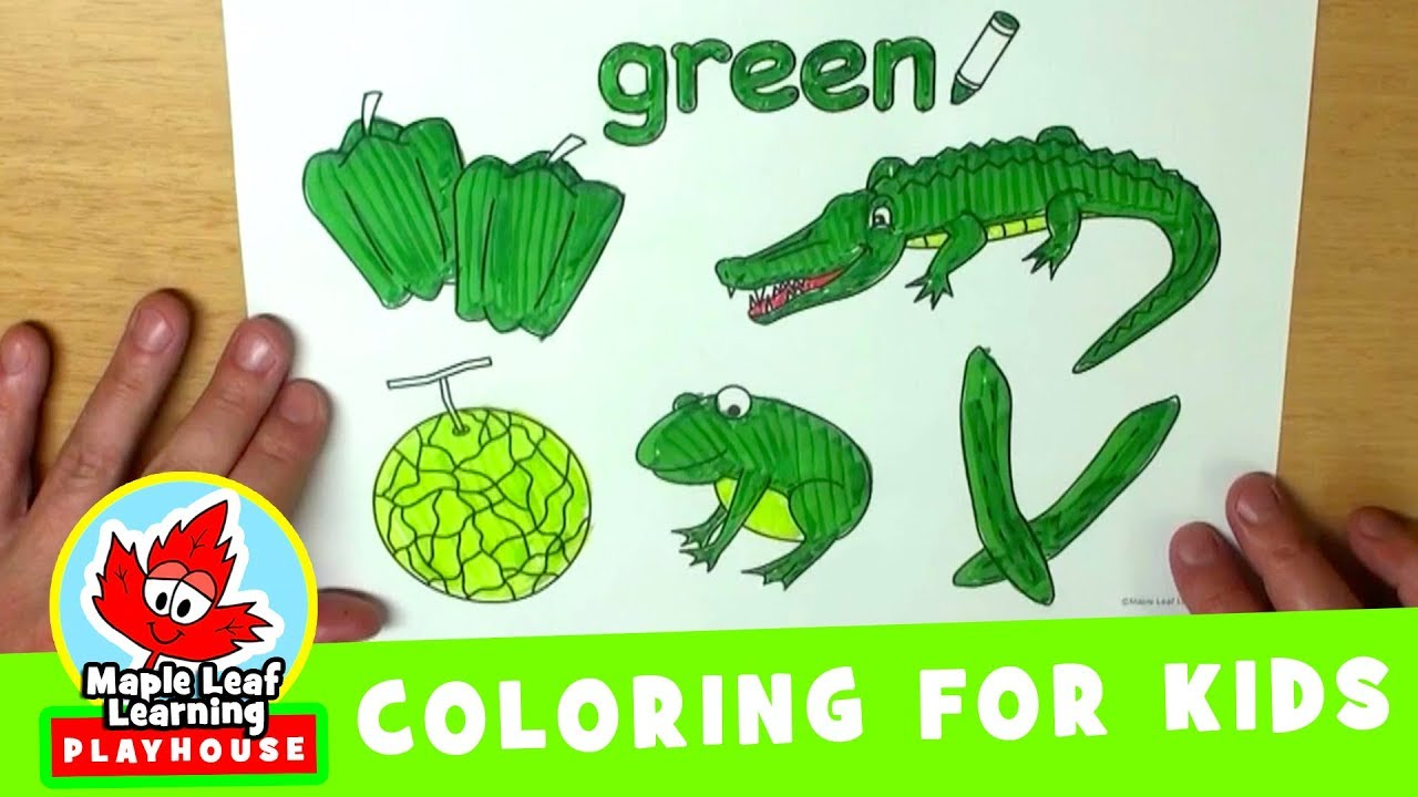 green coloring page for kids maple leaf learning playhouse youtube