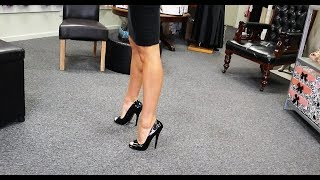 Unboxing Try Out 6 Inch Open Toe Single Sole Black High Heel Shoes With Amanda Blanks