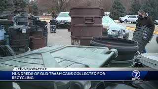 Hundreds of old trash cans collected for recycling