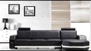 Monroe T305   Modern Black Leather Sectional Sofa