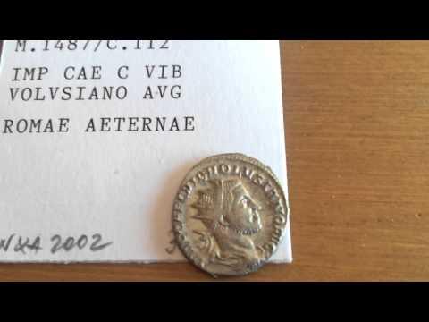 Roman Empire silver Antoninianus coin,Emperor Volusianus 251-253 A.C.