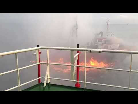 Offshore research vessel on fire off Malaysia