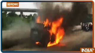 Ahmedabad: A BMW catches fire on road, no casualties reported