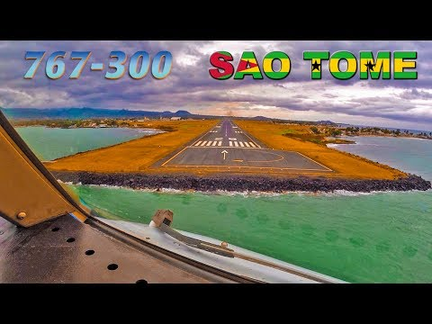 Pilotsview Boeing 767 into SAO TOME