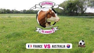 Entraid' vous donne les résultats du match de foot France - Australie avec Jonque, la vache