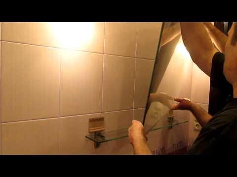 Как закрепить зеркало в ванной на плитку