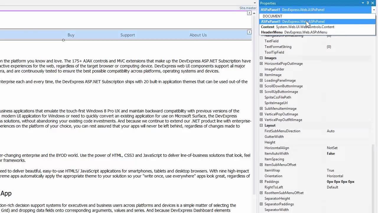 DevExpress ASP NET Panel: Responsive Layout