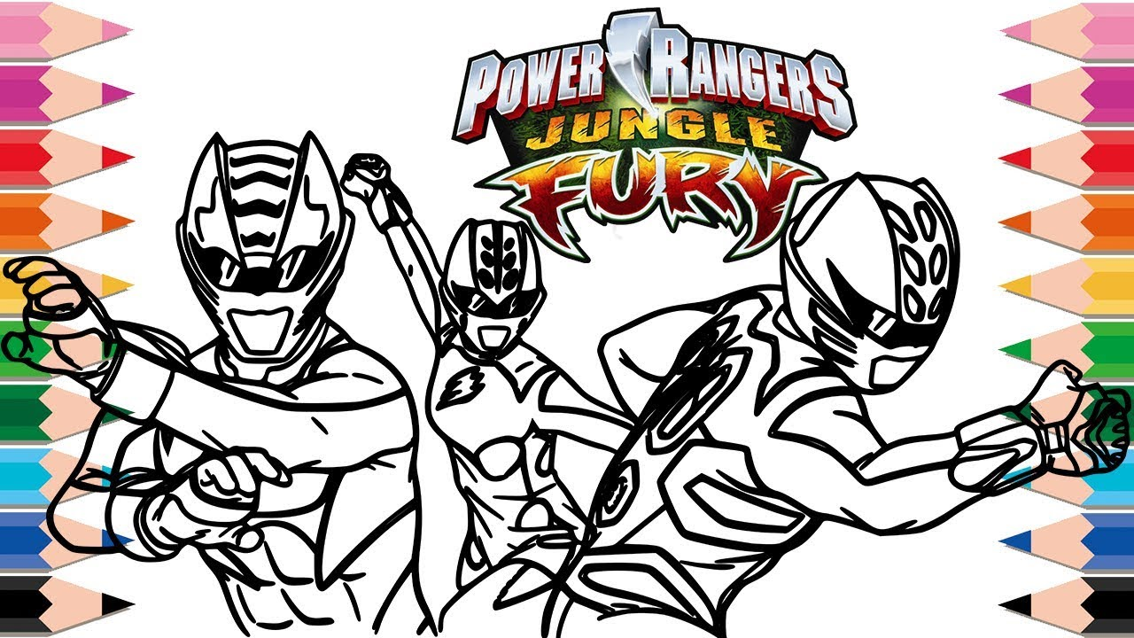 how to draw power rangers jungle fury coloring pages for kids learn colors superheroes for children