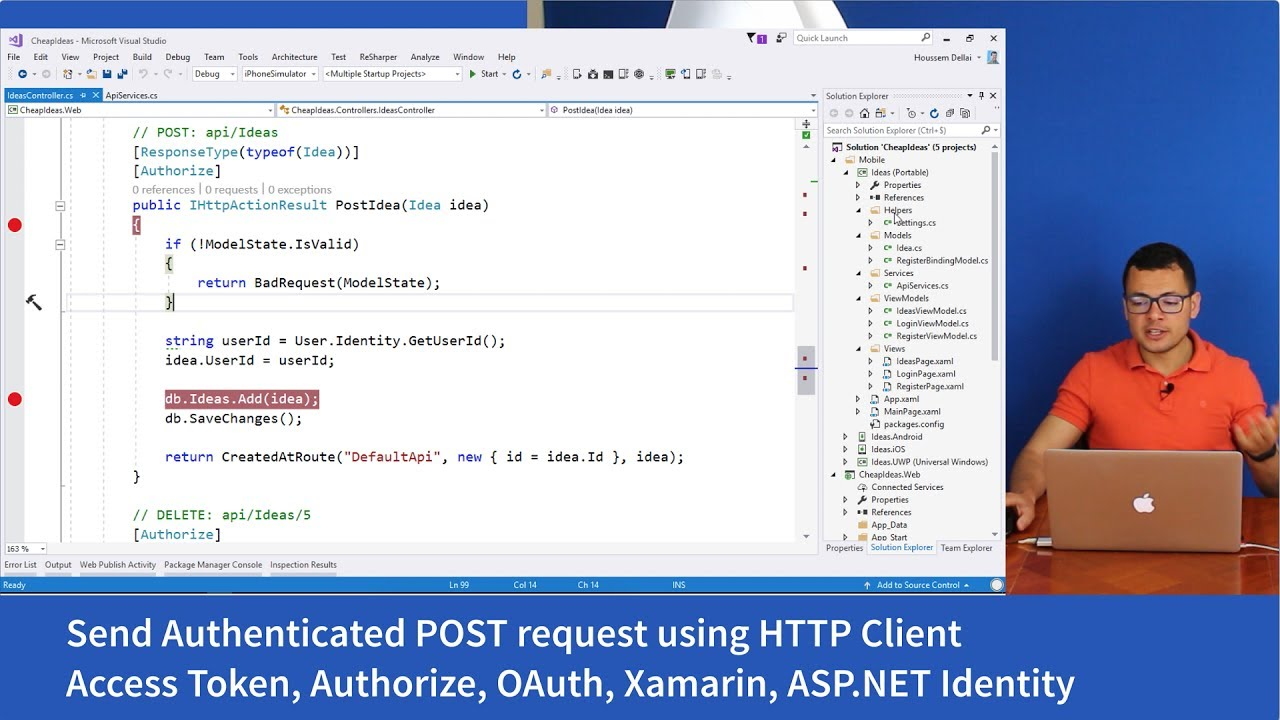 Authenticated HTTP Post request from Xamarin Forms