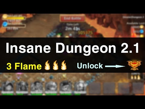 Castle Clash: Insane Dungeon 2-1 With 3 Flame In 10s - Unlock Goblet Of Life (F2P Hero Only)