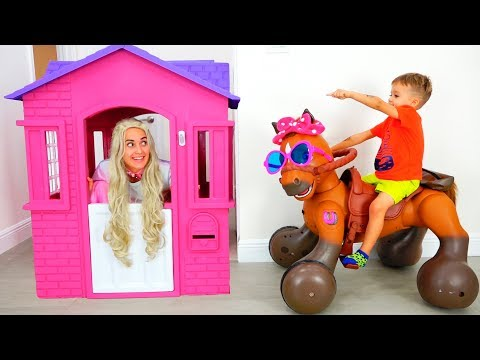 Vlad and Nikita Ride on Toy Horse & play with toys