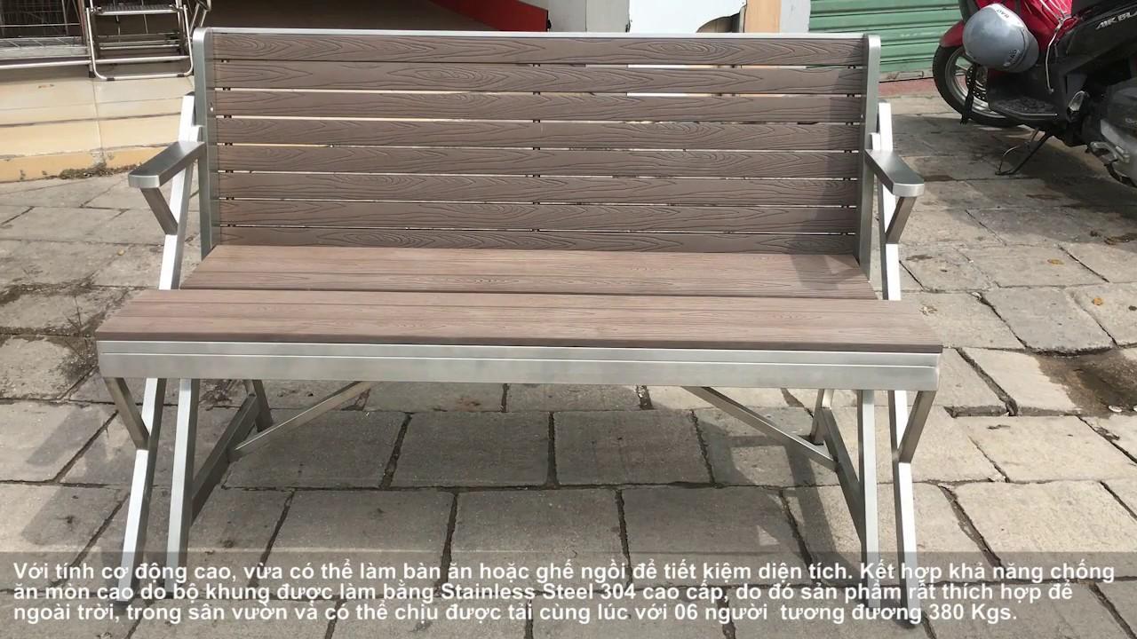 Ghế kết hợp bàn xếp đa năng có thể sử dụng ngoài trời BAO-GBX020 – BAO INOX
