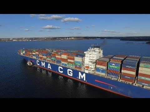 Largest Container Ship at Halifax, NS - Awesome Views of the CMA CGM AQUILA - Speed Up X3