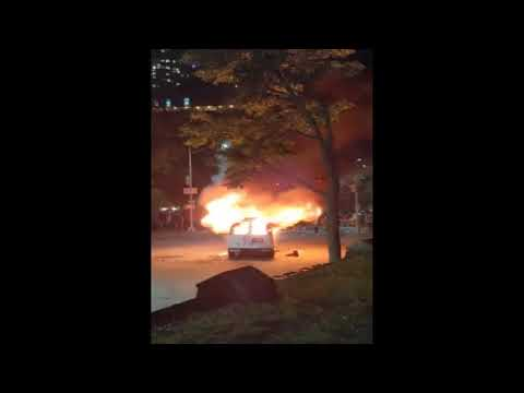 The NYPD van was set on fire on Friday night during New York City protests over the death of George Floyd.