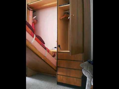 schrankbett in aktion youtube. Black Bedroom Furniture Sets. Home Design Ideas
