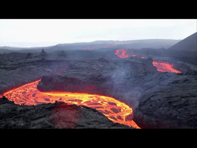 Raw: Lava Flows From Russian Volcano