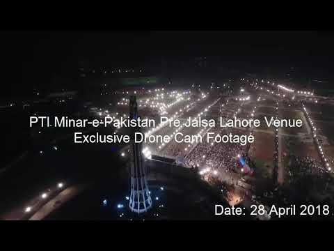 PTI Minar-e-Pakistan Pre Jalsa Venue Footage by Drone Cam on 28.04.2019