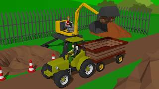 Cyclop Loader and #Excavator and Truck - planting flowers | Street vehicles for Kids - Maszyny