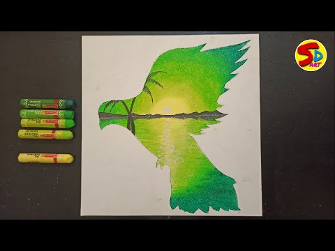 How to draw bird, how to draw landscape painting oil pastel, draw fliying bird simple steps,