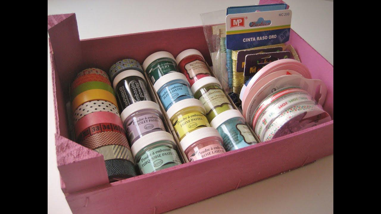 Diy caja reciclada para materiales de manualidades - Cajas para manualidades ...