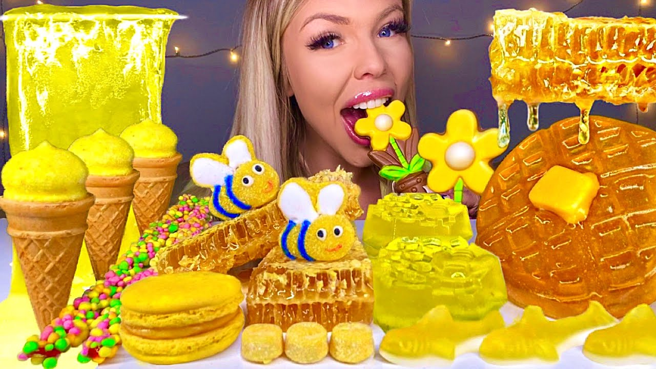 ASMR HONEYCOMB JELLY, EDIBLE BEES, NERD ROPE, LEMON DROP, EDIBLE FLOWERS, MACARON, CANDY MUKBANG 먹방