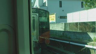 JR逗子駅3番線に停車中の、湘南新宿ライン宇都宮線直通普通宇都宮行きE233系2542YU35+E233系U629の8号車モハE232-3029両から見た甲種輸送しなの鉄道SR1系S201+S202!