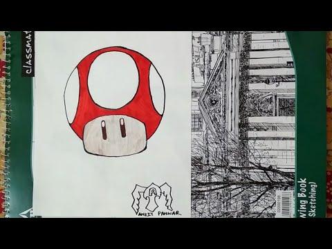 How To Draw A Mario Mushroom Cartoon Step By Step Mario Game