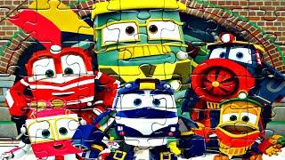 Роботы Поезда Друзья - собираем пазлы для детей с героями мультика Robot Trains   Danik and Lesha