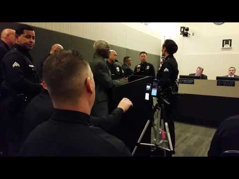 Arrest of 82 Year old Tut Hayes for Speaking at #LAPD Police Commission Meeting on November 22, 2016