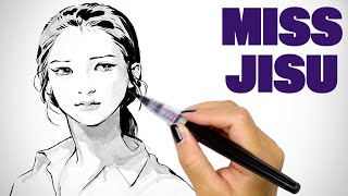 Head Quicksketch with Brush Pens - Miss Jisu Demo