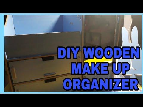 DIY Wooden Make up organizer with Mirror - Shoppee