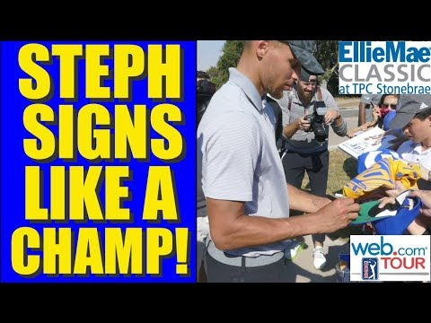 STEPHEN CURRY SIGNS LIKE A CHAMP at PGA Golf Ellie Mae Classic 2017 Web.com Tour WARRIORS