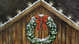 Christmas Lighted Barn with Wreath Acrylic Painting LIVE Tutorial