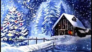 Рисуем новогодний пейзаж гуашью/ Drawing new year landscape in gouache