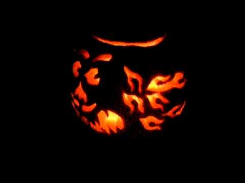 Halloween 2011 Pumpkin Jackolantern Carving Custom Freehand Pattern