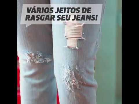Como rasgar o jeans em casa. #DIY #Vix