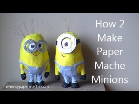 How 2 make cute paper mache minions youtube for How to make useful things from paper