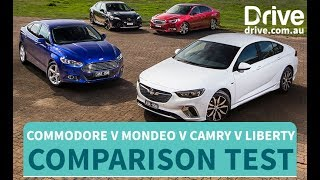 Comparison Test: 2018 Commodore RS v Mondeo Trend v Camry SX v Liberty 2.5i | Drive.com.au