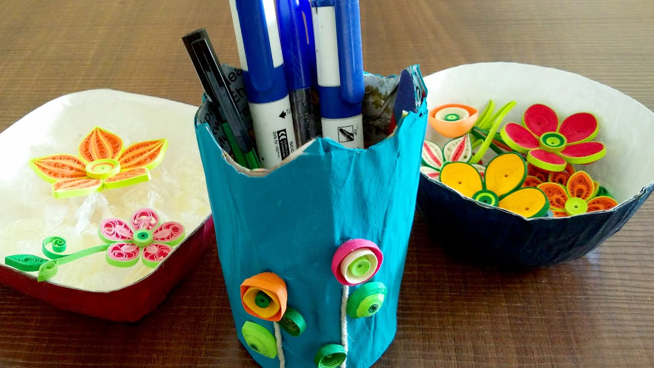 How to make bowls pen stand diy newspaper craft tutorial youtube jeuxipadfo Image collections